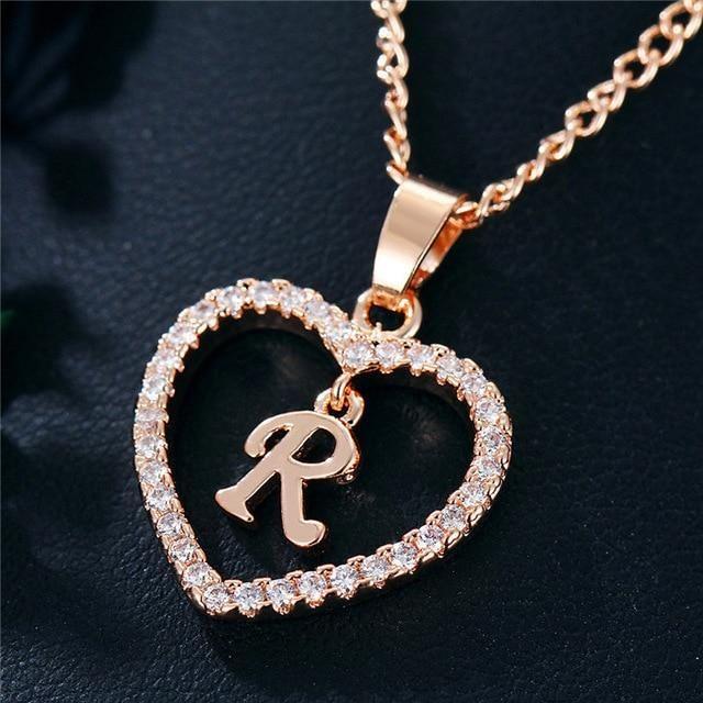 Romantic Rhinestone Initial Letter Necklace Gagodeal Initial Heart Necklace Initial Necklace Letter Pendant Necklace