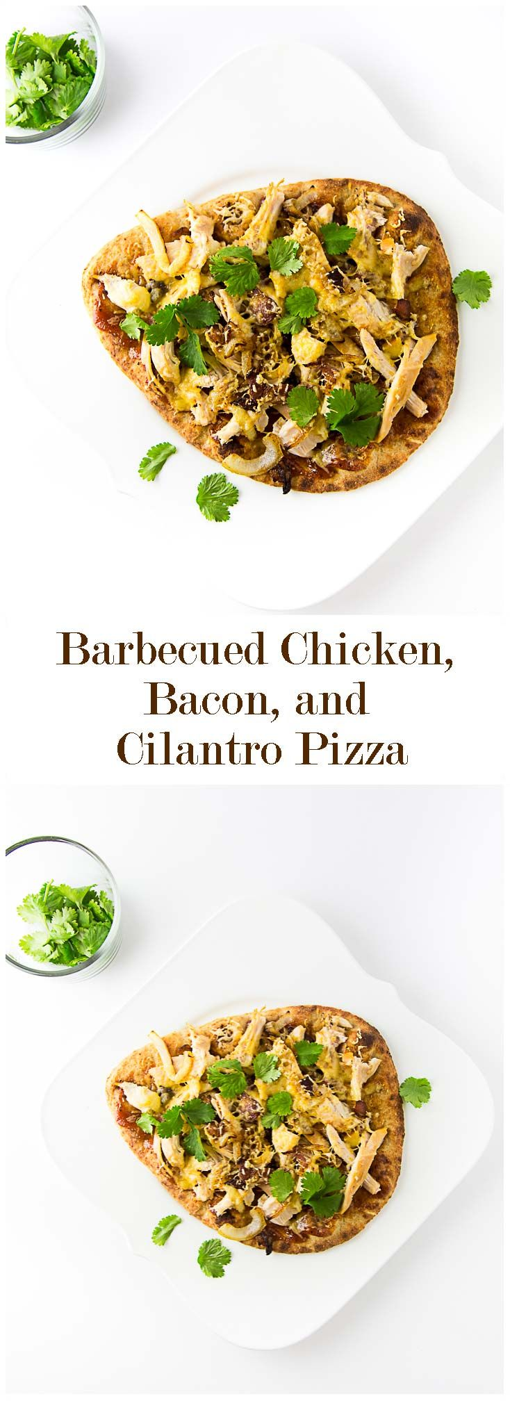 Barbecued Chicken, Bacon and Cilantro Pizza!  Using naan bread and rotisserie chicken makes this easy weeknight dinner come together in minutes!