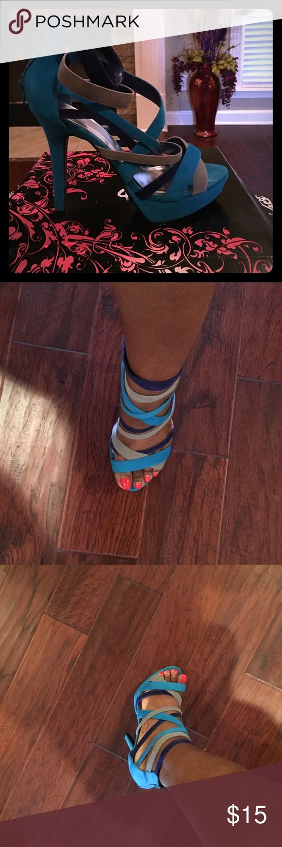 Multi color strappy heels Turquoise/gray/blue strappy heels Qupid Shoes Heels