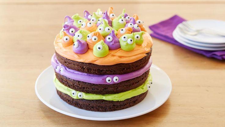 Gâteau d'Halloween aux yeux effrayants – Vos petits gobelins et petites sorcières auront les yeux écarquillés d'émerveillement devant ce gâteau d'Halloween amusant!