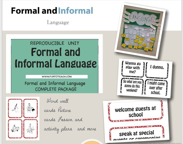 informal language has a variety of Formal vs informal there is a clear difference in register between 'familiar' and 'ceremonial' styles however, academic writing may require some cross registering with 'informal' and 'formal' styles therefore, it is important to understand the differences in the language used and when cross registering is possible.