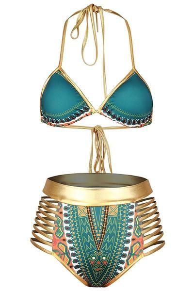 Green African Tribal Metallic Cutout Halter High Waist Swimsuit, Shop for cheap Green African Halter High Waist Swimsuit online? Buy at ModeShe.com on sale!