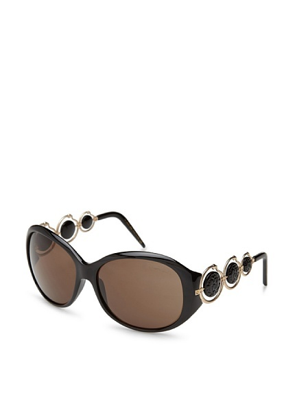 Blenda Sunglasses.  Oversized design, medallion embellishments with metal serpent accents, integrated nose piece