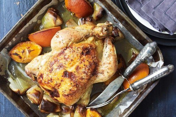 Κοτόπουλο ψητό με πορτοκάλι & τζίντζερ