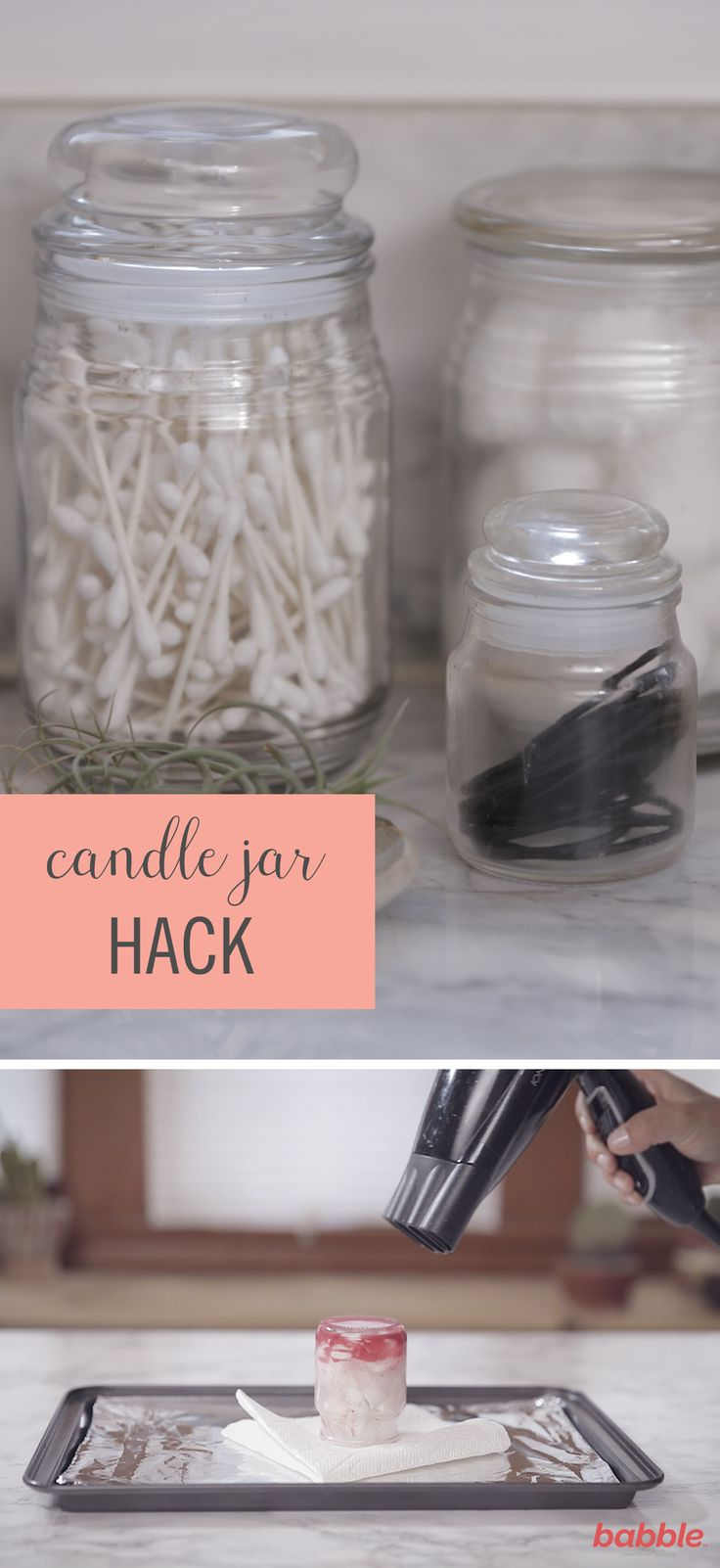 Candles not only fill your home with a pleasant aroma, but they also offer another function once the wick hits its last flicker. Instead of tossing old scents, use this simple hack to create an apothecary jar to organize your bathroom essentials. Add bobby pins, cotton balls, hair ties, you name it! To achieve this Candle Jar Hack, all you need is a baking pan, aluminum foil, paper towel, blow dyer, and used candle.