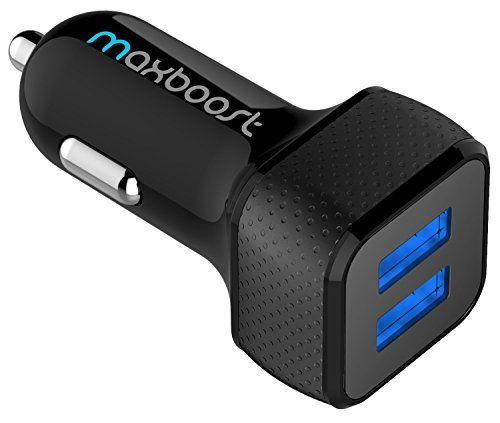 Car Charger , Maxboost 4.8A/24W 2-Smart Port USB Car Charger -[Black/Black] Portable Fast Battery…