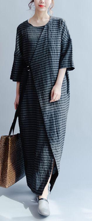 new black plus size sundress elegant casual linen summer dress