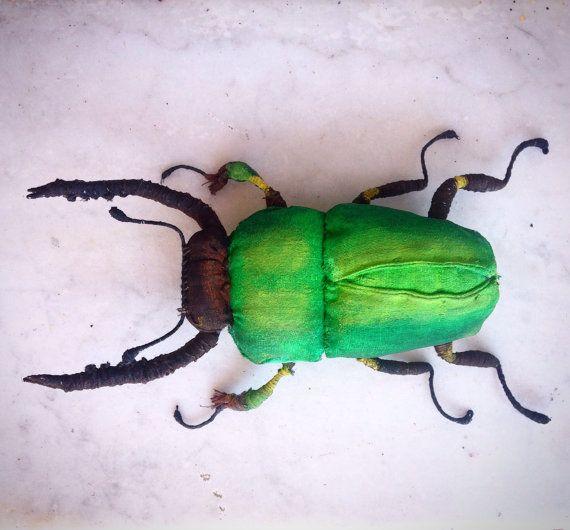 Beetle Textil Art Insect Soft Sculptur Home Decor