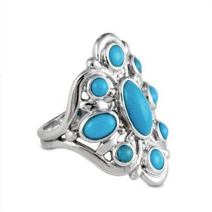 Sterling Silver Sleeping Beauty Turquoise Cluster Ring Kingman & Sleeping Beauty. $59.98