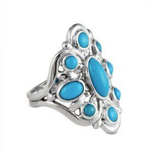 Sterling Silver Sleeping Beauty Turquoise Cluster Ring Kingman & Sleeping Beauty. $59.98