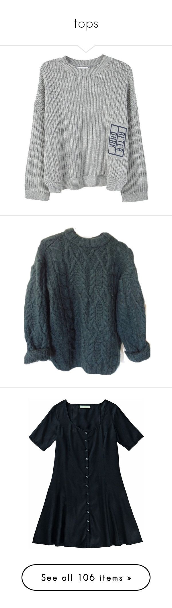 """tops"" by celui-calme ❤ liked on Polyvore featuring tops, sweaters, clothing - ls tops, jumpers, cable-knit sweater, cable sweater, embellished long sleeve top, cable jumper, chunky knit jumper and shirts"