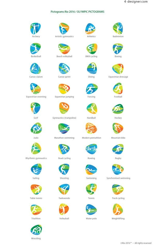 RIO 2016 Olympic Pictograms Rio 2016 Olympic Games sports icon