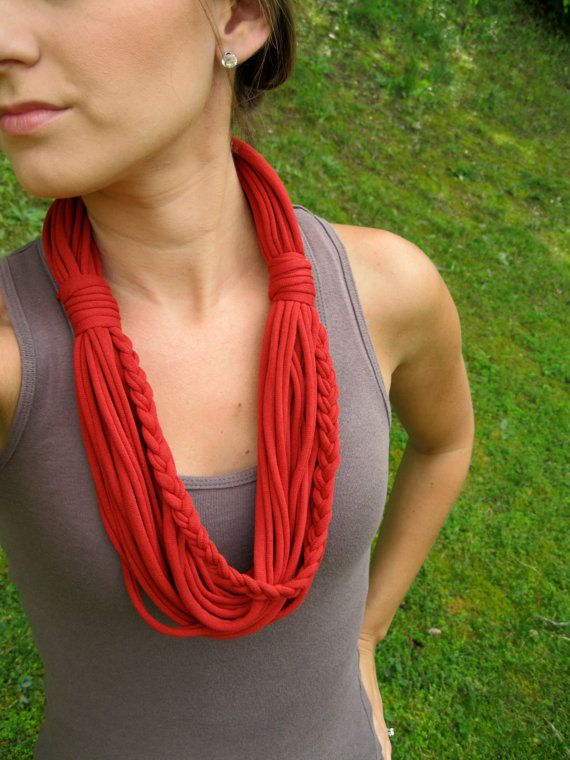 Infinity Scarves Tshirt Scarf Braided Scarf by Scarvesbystephy, $25.00