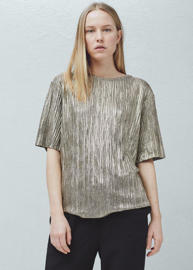 Metallic top - Shirts for Women | MANGO