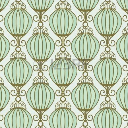 light motton blue pattern with Chinese lantern Stock Vector - splashback pattern idea..