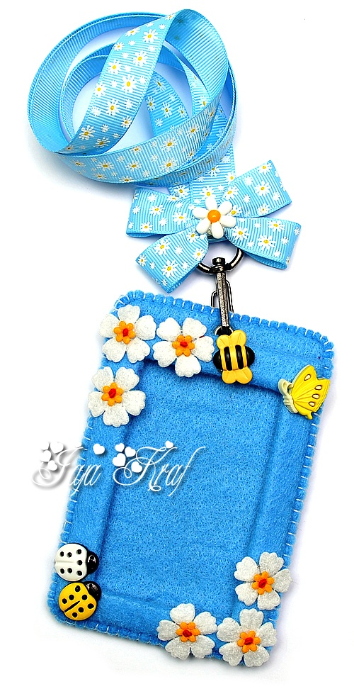 Blue Felt ID Card Holder