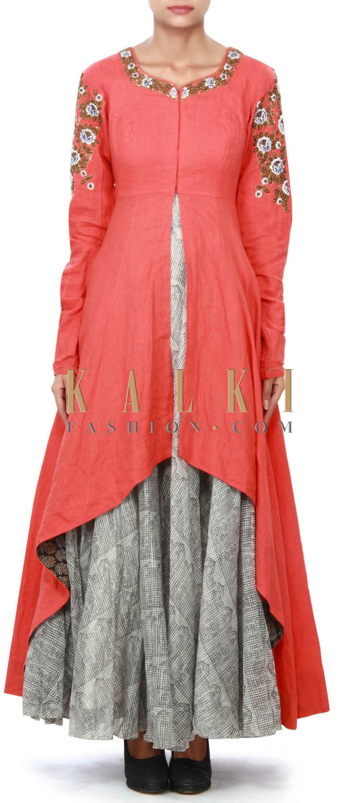 Buy Online from the link below. We ship worldwide (Free Shipping over US$100) Price- $419 Click Anywhere to Tag http://www.kalkifashion.com/off-white-anarkali-suit-mathced-with-orange-embroidered-jacket-only-on-kalki.html