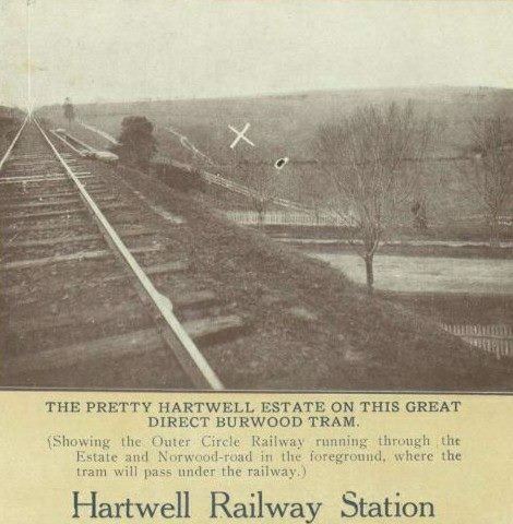 Toorak Road Bridge - Hartwell 1914. View from the train bridge looking North with Toorak Road (then Norwood Road) below.