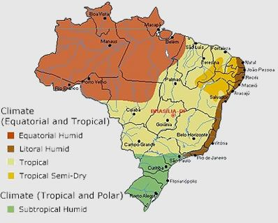 Climate map of Brazil