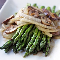 Grilled Asparagus with Baby Portabella Mushrooms and Vidalia Onions