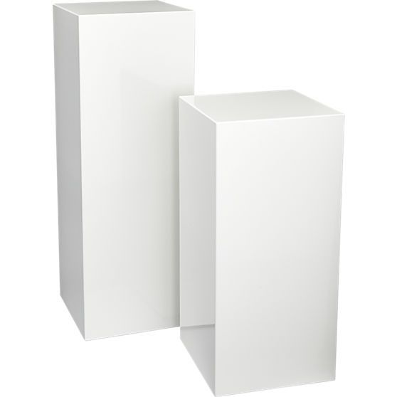 for lamp or plant in front of white columns... city slicker pedestal tables | CB2