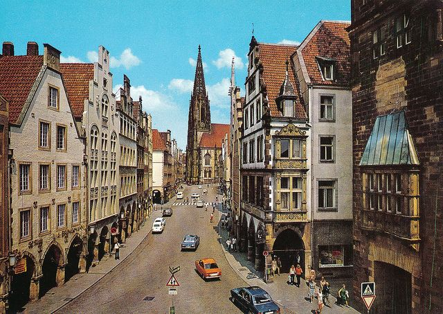 Prinzipalmarkt and St. Lambert's Church, Münster, Germany by Striderv, via Flickr