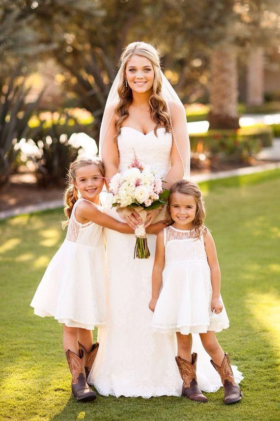 Wholesale Lace Flower Girl Dresses For Toddlers And Girls Keyhole Back Tea Length Custom Made Little White Dress For Kids Dress Bow Princess Dress, Free shipping, $57.93/Piece | DHgate Mobile