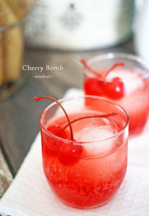 Cherry Bomb Mocktail ~ Only 3 Ingredients to a Easy, Fun Flirty Drink Loaded with Bubbles and Cherry! on MyRecipeMagic.com