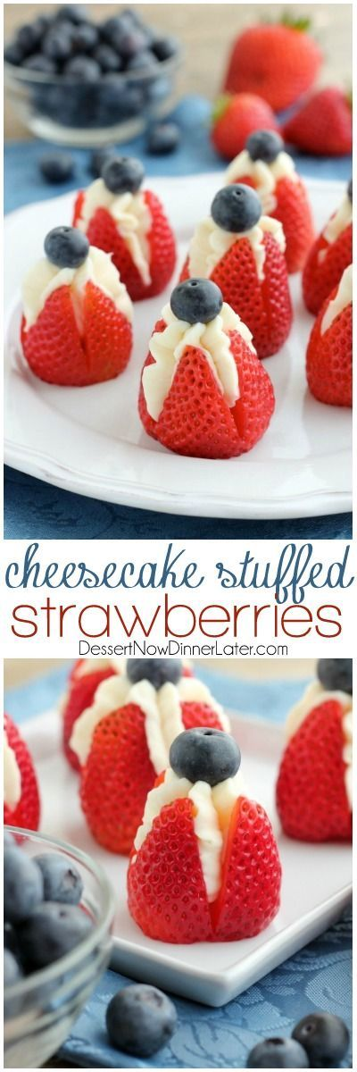Try these easy red, white, and blue Cheesecake Stuffed Strawberries for a healthier patriotic dessert! Great for Memorial Day or the 4th of July! http://shellybalt.com/