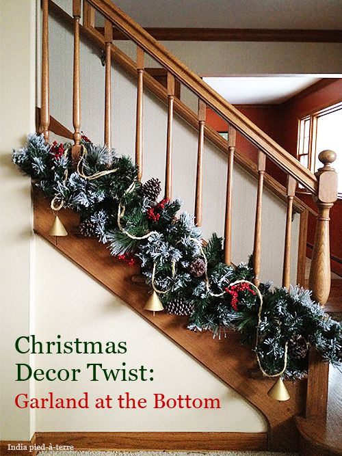 A new twist on garland placement. Try putting Christmas garland on the bottom of the stair railing.