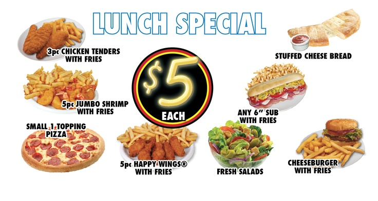 Get more for your money with one of our 5 lunch specials