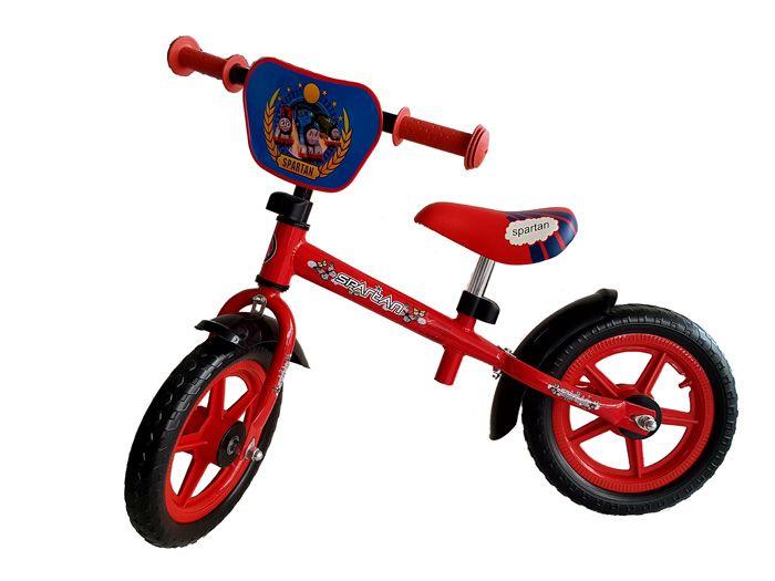 """A Spartan 12"""" futóbicikli gyermekeink számára. Kiváló minőségű könnyű szerkezetes konstrukció. A kormány kényelmes, csúszásmentes markolattal van ellátva. Biztonságos, bevizsgált roller melyet az EN-71-es normák szerint gyártottak. 12"""" - 30cm-es kerekekkel rendelkezik. A rollert gyermekeknek ajánljuk maximális 30kg -os terhelésig! A futóbicikli lehetővé teszi gyermekünk számára"""