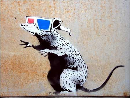 Banksy Rat With 3D Glasses Graffiti - Utah, USA
