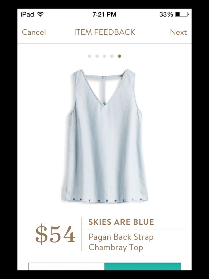 Dear Stitch Fix Stylist - this looks like a step up from the plain white tank top for work.  I would really love to try it.  Skies Are Blue Pagan Back Strap Chambray Top Stitch Fix