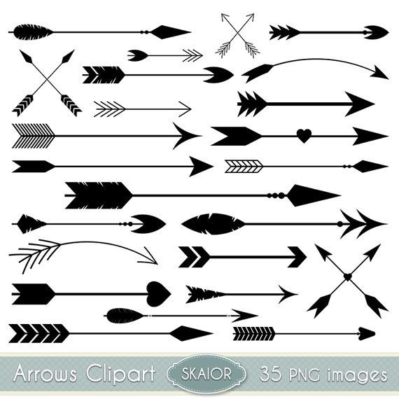 Arrows Clipart Vector Arrows Clip Art Tribal Digital Arrows Aztec Native American Doodle Scrapbooking Wedding Invitations Logo Silhouette