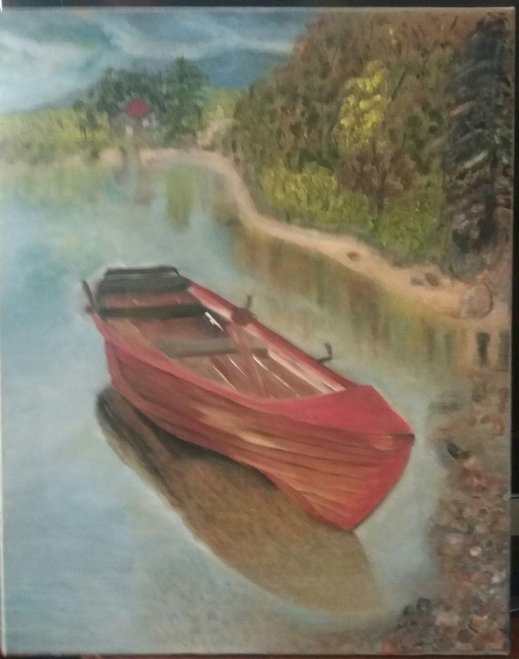 My boat - oil on canvas by Litsa Raftopoulou