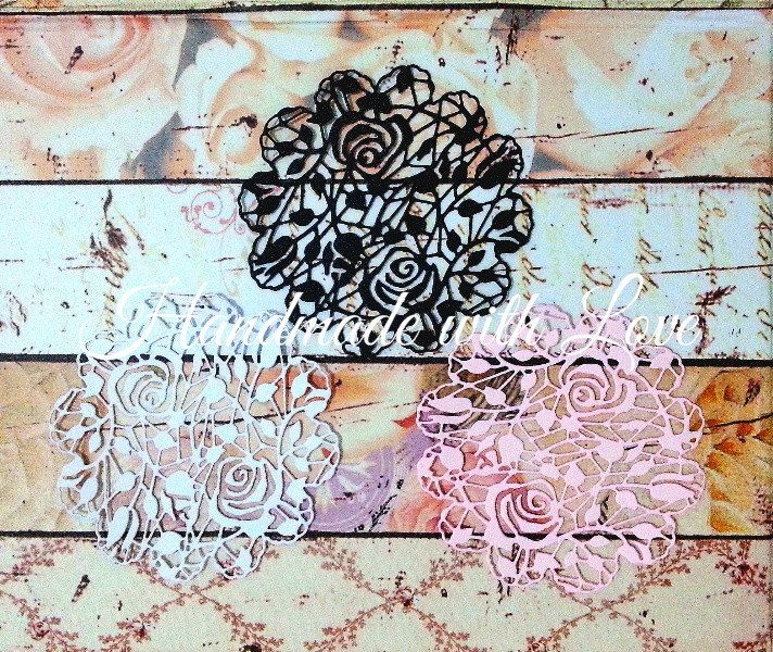 Roses Doily, 1 pack of 5pcs. Great for your cardmaking, scrapbooking, decoration, banner, and many more! by PaperCraftwithLove on Etsy
