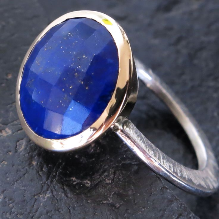 Lapis Lazuli set in 9ct gold with silver shank - ZMJEWELLERY.CO.ZA