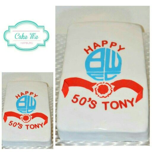 Bolton Wanderer cake for 50th birthday of football fan.