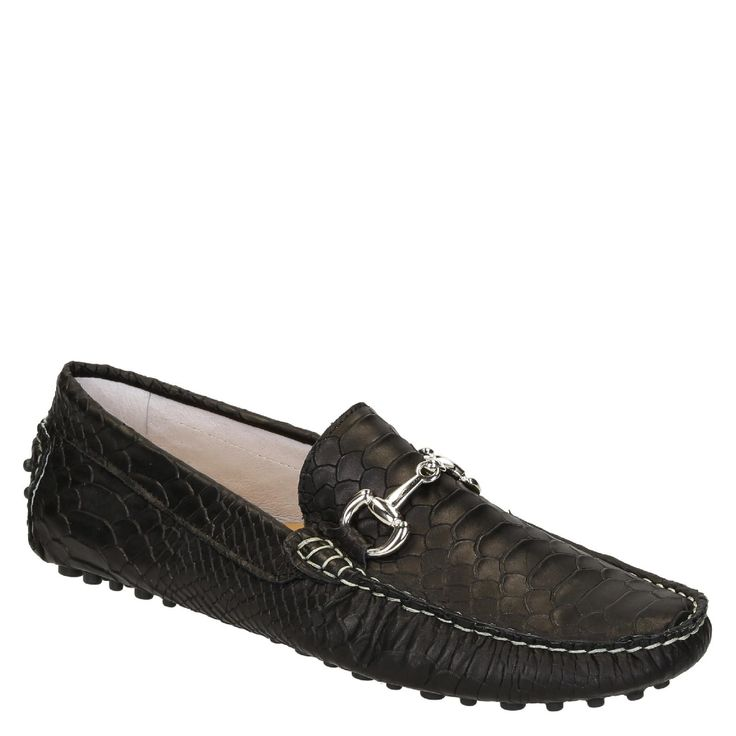 Black crocodile textured leather driving moccasins - Italian Boutique €194