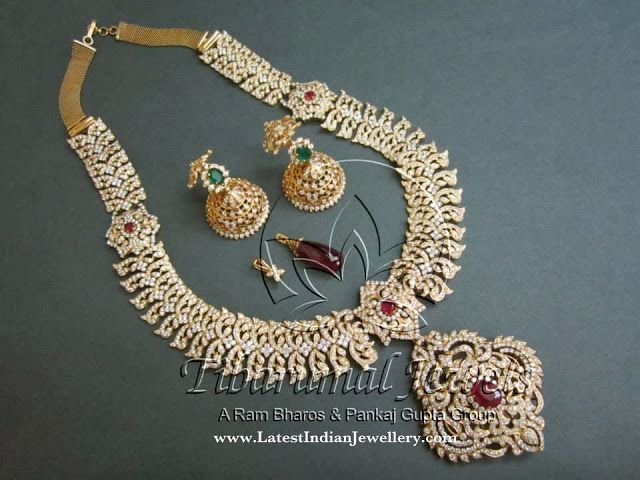 5 in 1 Diamond Haar | Latest Indian Jewellery Designs vaddanam, short necklace, pendant, jada, long necklace