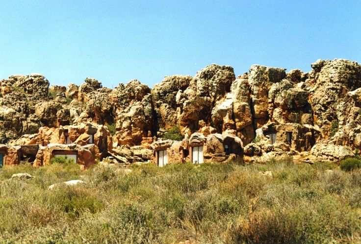 Ten caves artificially constructed to merge with the landscape. Kagga Kamma game reserve.