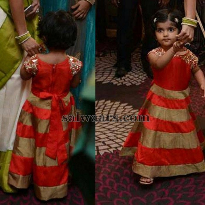 Jyothika Daughter in Red Frock - Indian Dresses