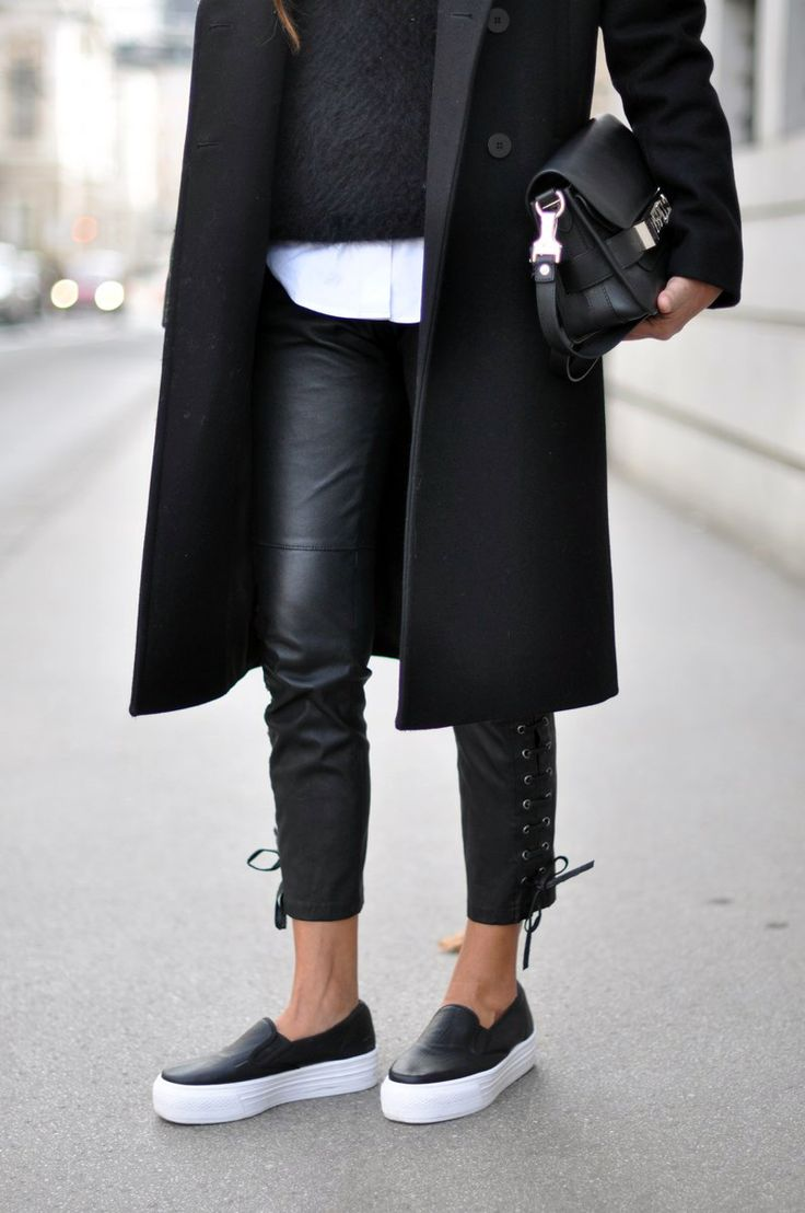 black & white perfection: coat, knit, Proenza Schouler bag, lace-up cropped leather pants and slip-on sneakers #style #fashion