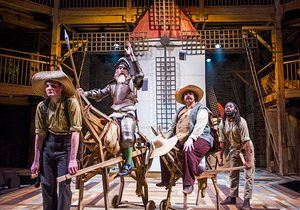 Theo Fraser Steele (Rosinante-Horse), David Threlfall (Don Quixote), Rufus Hound (Sancho) and Natey Jones (Dapple-Donkey) in Don Quixote