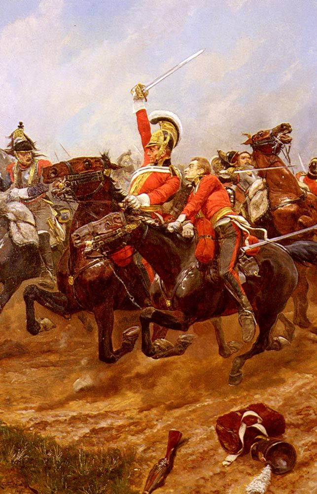 Richard Caton Woodville (Richard Caton  Woodville), Lifeguards Charging at the Battle of Waterloo