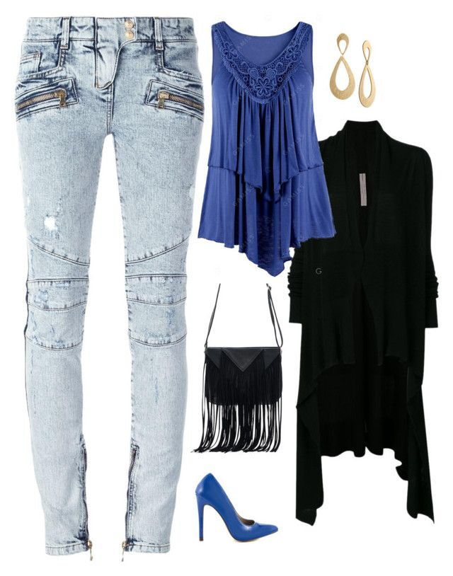 """""""Untitled #1840"""" by netteskytte on Polyvore featuring Rick Owens, Balmain, Michael Antonio, WithChic and Rachel Rachel Roy"""