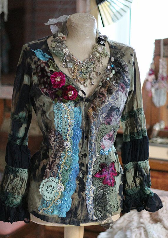 RESERVED-LAYAWAY balance   Ornate baroque inspired blouse has been dyed in shades of dark green, sage, brown and black; reworked with various laces