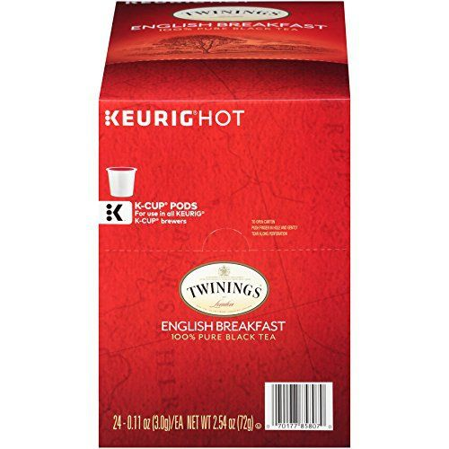 Twinings English Breakfast K-cups 24-Count of Twinings English Breakfast Tea A rich and satisfying robust tea, traditionally blended with Kenyan and Assam black teas Can be enjoyed with or without milk, sweetened or unsweetened – the choice is yours Favorite choice of tea lovers... more details available at https://www.kitchen-dining.com/blog/coffee-tea-espresso/product-review-for-twinings-english-breakfast-tea-keurig-k-cups-24-count/