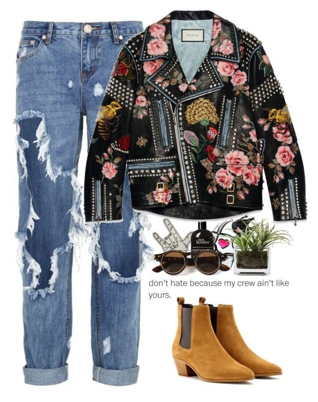 """- Gucci denim past -"" by lolgenie ❤ liked on Polyvore featuring One Teaspoon, Franklin, Manish Arora, philosophy, Yves Saint Laurent, Gucci and Threshold"